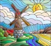 Witraż abstrakcjonistyczna ilustracja z wiatraczkiem na tle niebo, rzeki i pola, Fotografia Royalty Free