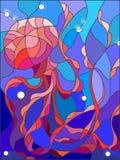 Witraż ilustracja abstrakcjonistyczni jellyfish Obrazy Stock