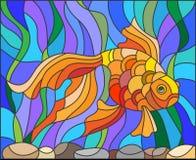 Witraż ilustracja akwarium goldfish Obrazy Stock