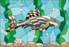 Witraż ilustracja akwarium ryba Zdjęcie Stock
