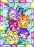 Witraż ilustracja kwiatów pansies w jaskrawej ramie Obraz Stock