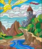 Witraż ilustracja lato krajobraz z antycznym kasztelem Zdjęcia Royalty Free