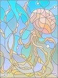 Witraż ilustracja z abstrakcjonistycznymi jellyfish Zdjęcie Stock