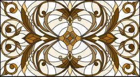 Witraż ilustracja z abstraktem wiruje i opuszcza na lekkim tle, horyzontalna orientacja, sepiowa Zdjęcie Stock