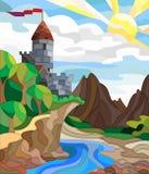 Witraż ilustracja z antycznym kasztelem, lato krajobraz Obraz Stock