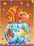 Witraż ilustracja z czerwonym abstrakcjonistycznym kotem i goldfish w akwarium Obrazy Royalty Free