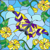 Witraż ilustracja z jaskrawym motylem przeciw niebu, ulistnieniu i kwiatom, Obraz Stock