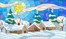 Witraż ilustracja z zimy wioski krajobrazem Zdjęcia Royalty Free