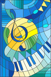 Witrażu ilustracyjny Abstrakcjonistyczny wizerunek treble clef Zdjęcia Royalty Free