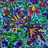 Witrażu okno, kwiaty Zdjęcie Royalty Free