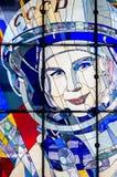 Witrażu okno w planetarium w Yaroslavl Obrazy Stock