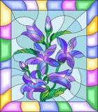 Witrażu wizerunek kwiaty bluebells w jaskrawej ramie Zdjęcie Royalty Free