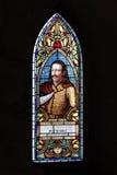 Witrażu okno, Corvin kasztel, Rumunia Obraz Royalty Free