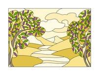Witrażu okno z krajobrazem Zdjęcie Stock