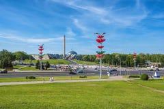 Witrussisch museum van de Grote Patriottische Oorlog bij zonnige de zomerdag in Minsk, Wit-Rusland royalty-vrije stock foto's