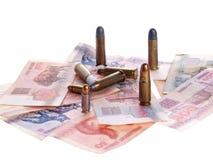Witrussische geld en kogels stock afbeeldingen