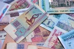 Witrussische roebelachtergrond bankbiljetten Stock Foto's