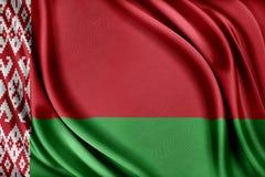 Witrussische Vlag Vlag met een glanzende zijdetextuur Stock Fotografie