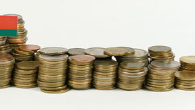 Witrussische vlag met stapel geldmuntstukken stock video