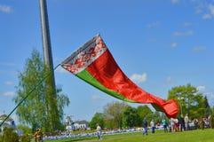 Witrussische vlag in zonneschijn Royalty-vrije Stock Afbeelding
