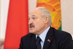 Witrussische voorzitter Alexander Lukashenko stock foto's