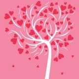 Witte abstracte boom met kleine en grote roze harten op een roze achtergrond voor Valentijnskaartendag Stock Foto