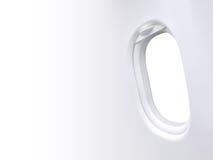 Witte achtergrond in het kader van het venstervliegtuig en leeg ruimtemalplaatje Stock Afbeelding