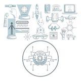 Witte achtergrond met de secties van de silhouetkleur het in de schaduw stellen van cirkelkaderhersenen met kringen en vastgestel stock illustratie