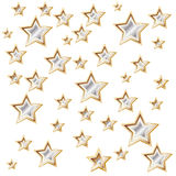 Witte achtergrond met glanzende gouden sterren Stock Foto's