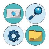 Witte achtergrond met kleurrijke cirkels met de marketing van pictogrammen hoe laptop en vergrootglas en pignon en omslag vector illustratie