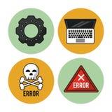Witte achtergrond met kleurrijke cirkels met pictogrammen van pignon en laptop en pictogramfout als gevarendriehoek en schedel en royalty-vrije illustratie
