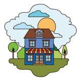 Witte achtergrond met kleurrijke scène van natuurlijk landschap en huis met twee vloeren met zolder en het afbaarden in zonnige d stock illustratie