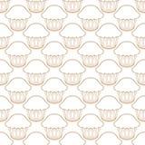 Witte achtergrond van het Cupcake de vectorpatroon vector illustratie