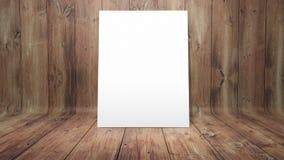 Witte affiche op gebogen houten achtergrond stock foto