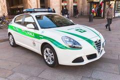Witte Alpha- Romeo Giulietta, Italiaanse politiewagen royalty-vrije stock afbeeldingen