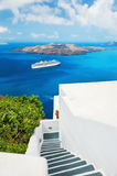Witte architectuur op Santorini-eiland, Griekenland Stock Foto's
