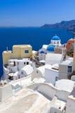 Architectuur van Oia dorp op eiland Santorini Stock Afbeeldingen