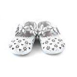 Witte babyschoenen Stock Fotografie