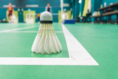 Witte badmintonshuttle Stock Foto's