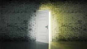 Witte baksteenruimte en open deurlicht stock illustratie