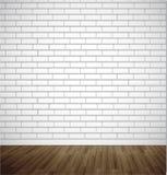Witte baksteenruimte met houten vloer Vector illustratieachtergrond Royalty-vrije Stock Fotografie