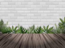 Witte bakstenen muur en houten vloer vector illustratie