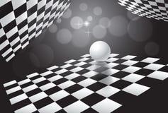 Witte bal en schaakborden als achtergrond in ruimte Vector illustratie Royalty-vrije Illustratie