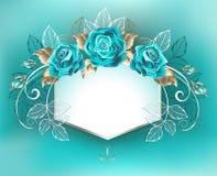 Witte banner met turkooise rozen Stock Fotografie