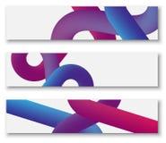 Witte banners met purper en roze abstract patroon Royalty-vrije Stock Afbeelding