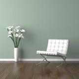 Witte Barcelona stoel op groen Stock Afbeeldingen