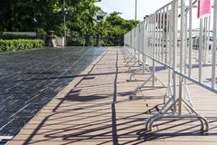 Witte barricade in de stad royalty-vrije stock foto's