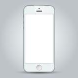 Witte bedrijfs mobiele telefoon op grijze achtergrond Stock Foto's
