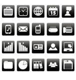 Witte bedrijfspictogrammen op zwarte vierkanten Royalty-vrije Stock Foto's
