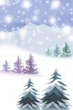 Witte Bergen van Kerstmisconcept - Grafische het schilderen textuur Stock Afbeeldingen